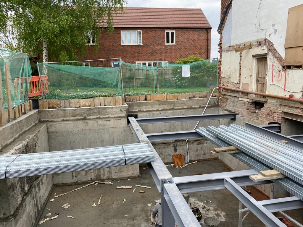 Steel frame installed