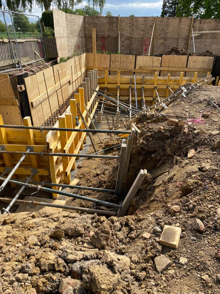 Shuttering propped