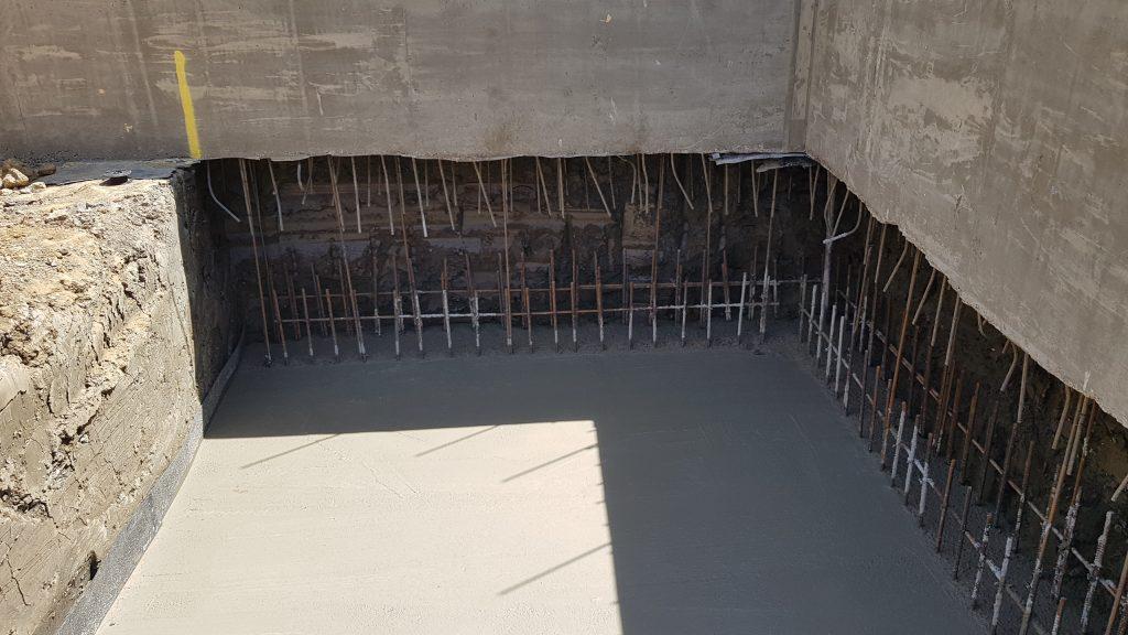Concrete base under ring beam cast